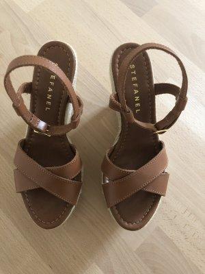 Stefanel Platform Sandals brown-cognac-coloured