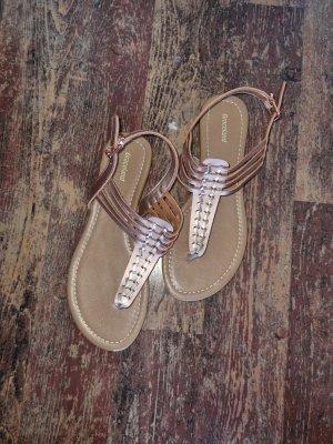 Deichmann T-Strap Sandals rose-gold-coloured