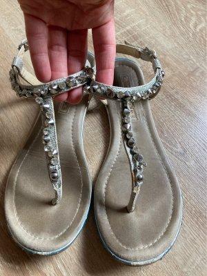 Sandalen Zehentrenner Buffalo 37 Silber Glitzer