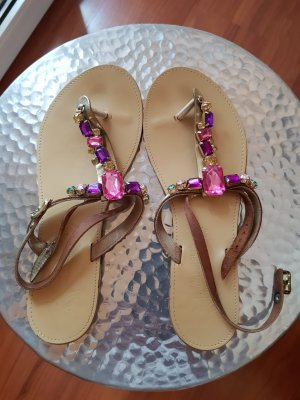 High-Heeled Toe-Post Sandals multicolored leather
