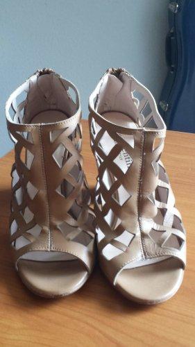 Sandalias de tacón de tiras coñac Cuero