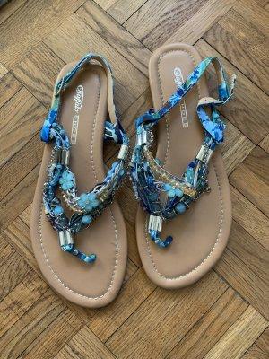 Buffalo Sandalo con tacco alto e lacci a T blu-blu acciaio