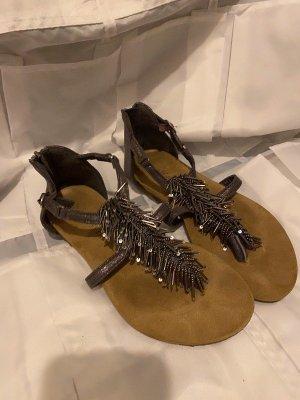 no name Strapped High-Heeled Sandals dark grey