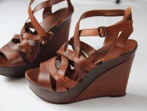 Cox Sandalias de tacón con plataforma coñac-bermejo Imitación de cuero