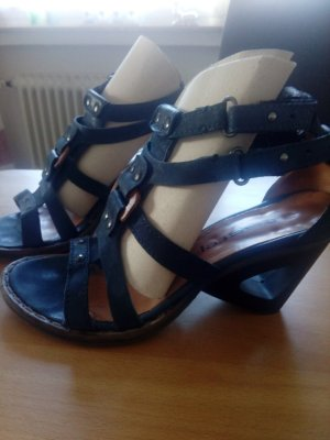 Air Step Strapped High-Heeled Sandals steel blue leather