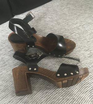 Esprit Sandalias de tacón de tiras negro-marrón-negro Cuero