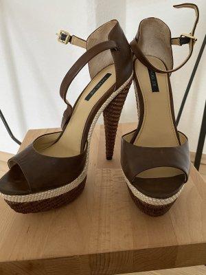 Rachel Zoe Platform High-Heeled Sandal brown-cream leather