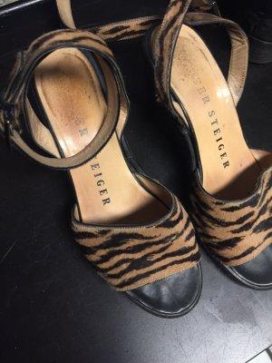 Sandalette von Walter Steiger mit Tigerfell, Gr 37