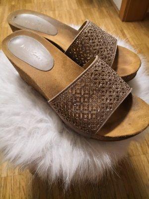 Platform High-Heeled Sandal gold-colored-light brown