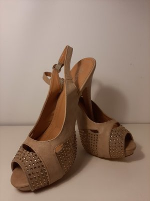 Belle Women Platform High-Heeled Sandal beige-camel mixture fibre