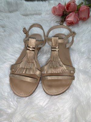 Miss Moda Sandalo con cinturino crema-oro Tessuto misto