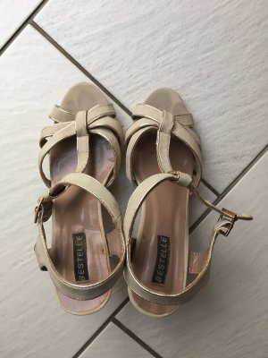 Bestelle T-Strap Sandals gold-colored-oatmeal