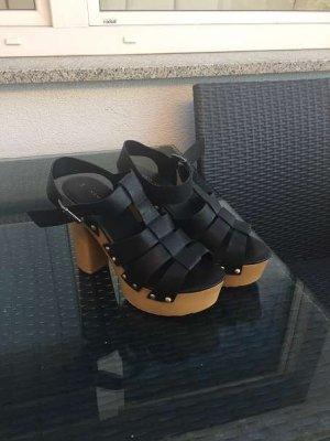New Look Plateauzool Sandalen met Hoge Hakken zwart-lichtbruin