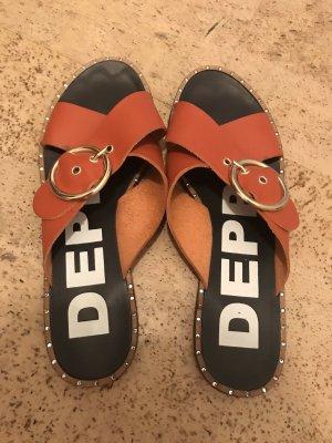 DEPP Sandalen met bandjes en hoge hakken donker oranje