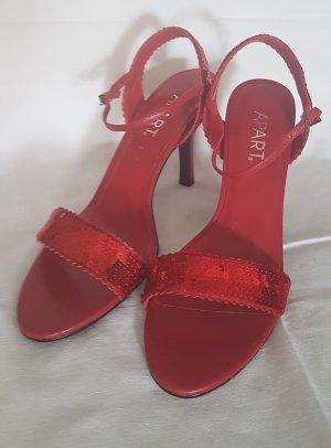 Apart Sandały na obcasie z rzemykami czerwony Skóra