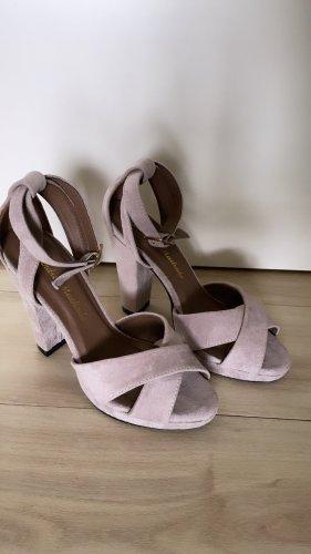 Sandalias de tacón con plataforma gris claro-gris