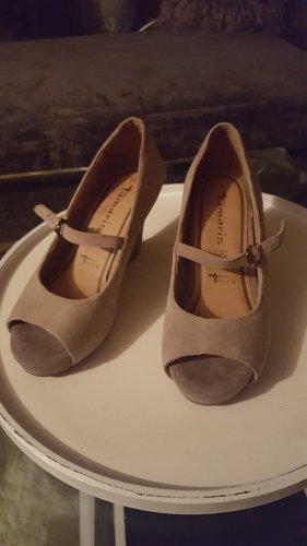 Tamaris Plateauzool sandalen beige Leer