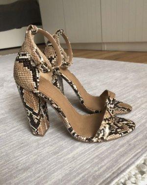 Sandaletten Blockabsatz Schlangenmuster