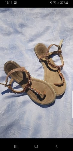 Buffalo T-Strap Sandals bronze-colored-rose-gold-coloured