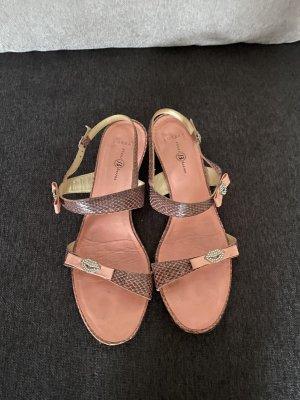 0039 Italy Sandalo con cinturino e tacco alto color oro rosa Pelle