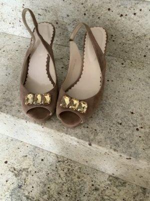 Sandaletten, Gr.39, Ziegenveloursleder , nude, von Boden
