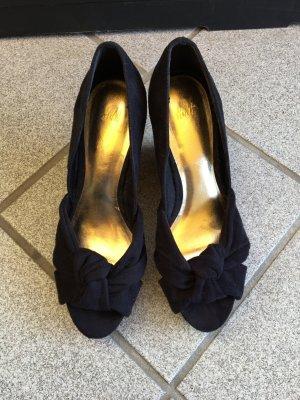 Sandaletten Keilabsatz Kork Gr 36/38 schwarz