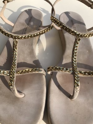 Kennel + schmenger T-Strap Sandals gold-colored-bronze-colored leather