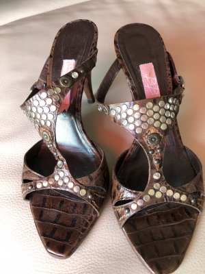 T-Strap Sandals brown-silver-colored