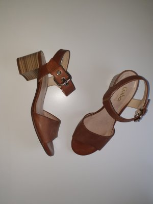 Gabor Comfort Strapped High-Heeled Sandals brown-cognac-coloured leather
