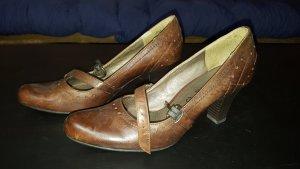 Sandaletten mit Absatz echtes Leder braun Tamaris 38