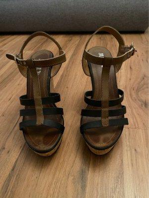 Jumex Sandales à talons hauts et plateforme noir-brun