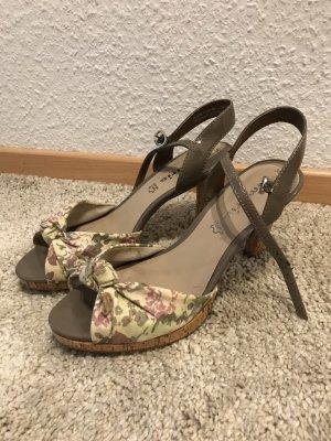 Sandaletten mit leichtem Plateau, taupe, Blumen