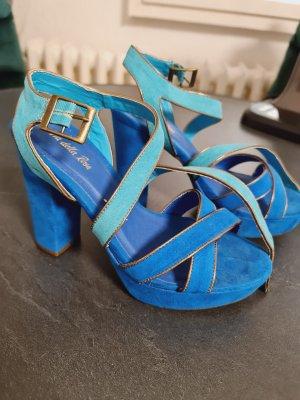 Sandaletten mit Plateau, Blau-Türkis/Gold