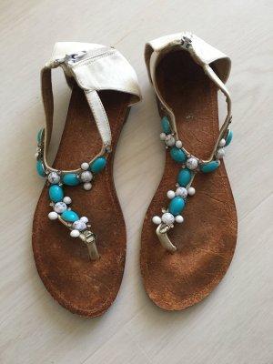 Sandalias de tacón con talón descubierto blanco-turquesa
