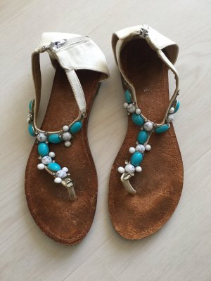High-Heeled Toe-Post Sandals white-turquoise