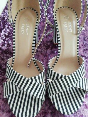 Hoge hakken sandalen wit-zwart