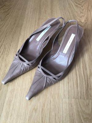 Pura Lopez Sandalias de tacón de tiras marrón grisáceo-marrón claro