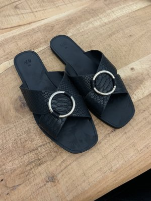 H&M Strapped Sandals black-silver-colored