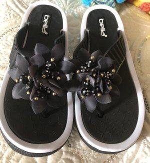 Sandalo infradito con tacco alto nero-bianco
