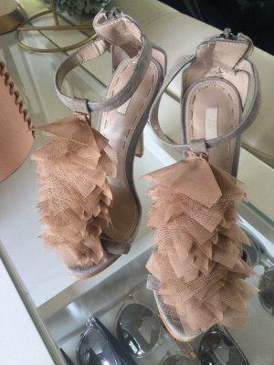 Zara Woman Sandały na obcasie z paskiem w kształcie litery T taupe-nude