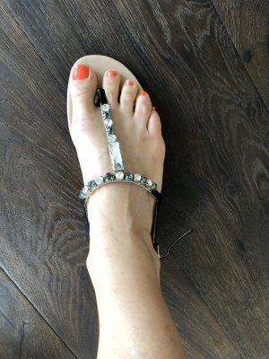 Charles & Keith T-Strap Sandals black-silver-colored