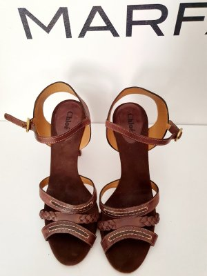 Chloé High Heel Sandal brown red leather