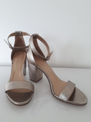 Hallhuber Strapped High-Heeled Sandals bronze-colored-gold-colored leather