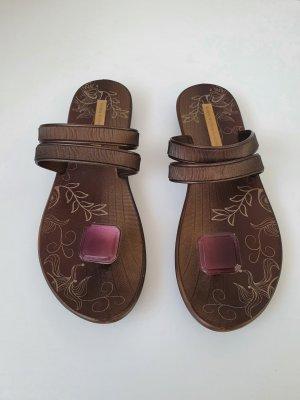 Ipanema Sandalo toe-post oro-marrone scuro