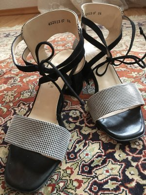 Peter Kaiser Strapped High-Heeled Sandals black-white leather