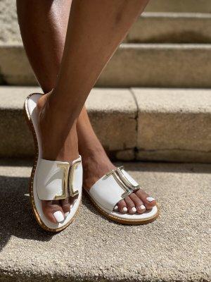 Comfortabele sandalen wit-goud Leer