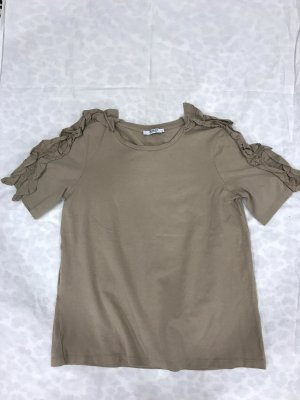 Sandbraunes Shirt mit Rüschenärmeln