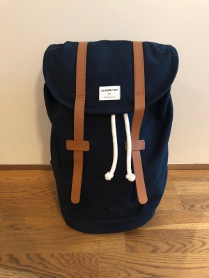 Laptop Backpack blue-cognac-coloured cotton