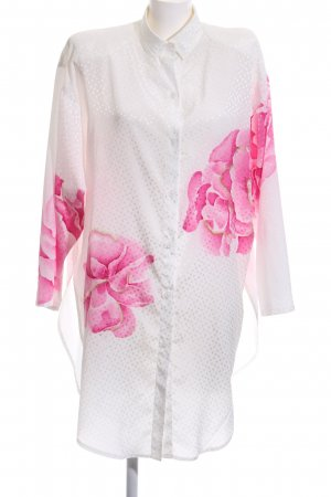 Sandra Pabst Long Blouse white-pink flower pattern casual look