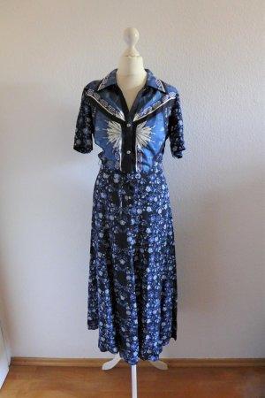 Sandro Boho Print Kleid schwarz weiß blau Gr. XS 34 neu
